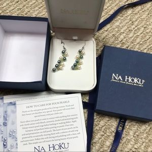 NWT Na Hoku dangling crystals pearls earrings